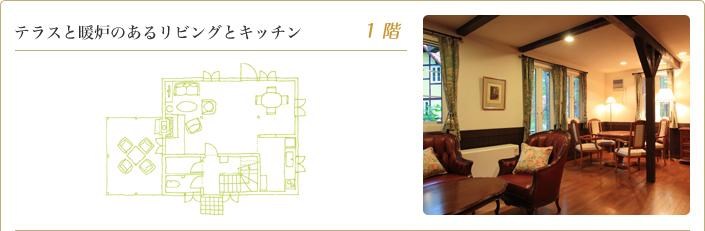 テラスと暖炉のあるリビングとキッチン 1階
