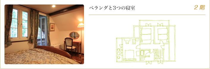 ベランダと3つの寝室 2階